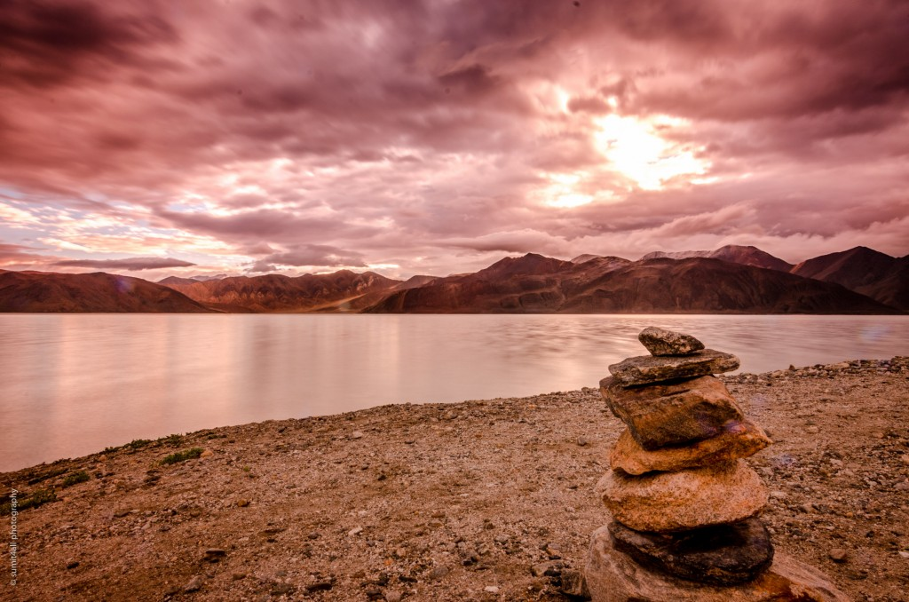 Cloudy sunset by the Pangong Tso