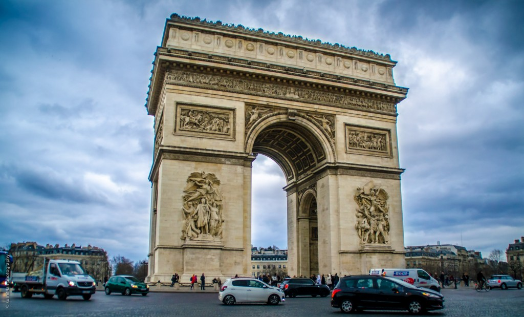 The Arc De Triomphe during an overcast evening