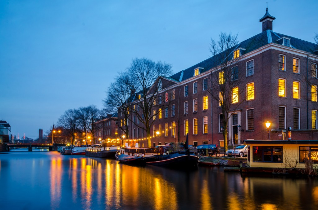 Amsterdam canals illuminated at night