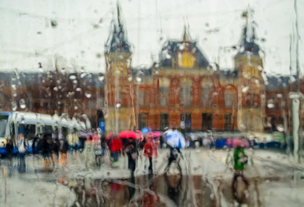 A rainy sight near Amsterdam Centraal Station