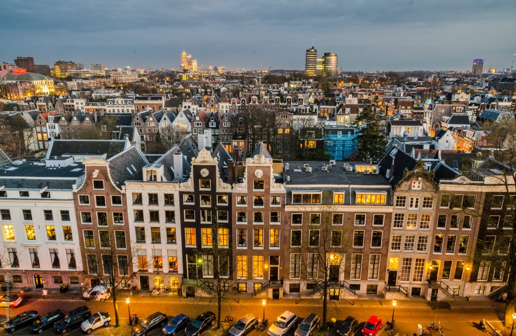 Amsterdam Skyline - Mix of 16th Century Houses and Modern Glass Skyscrapers