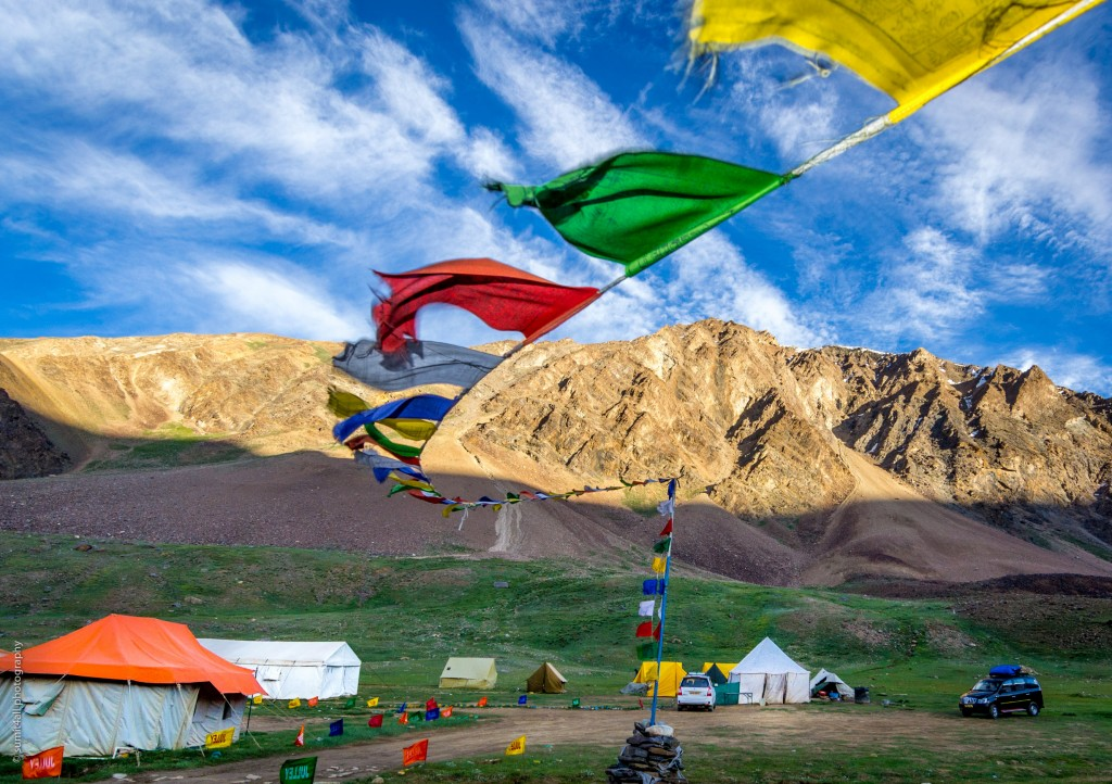 Tibetan prayer flags at a campsite in Sarchu
