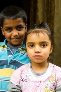 Two children posing for us in Leh