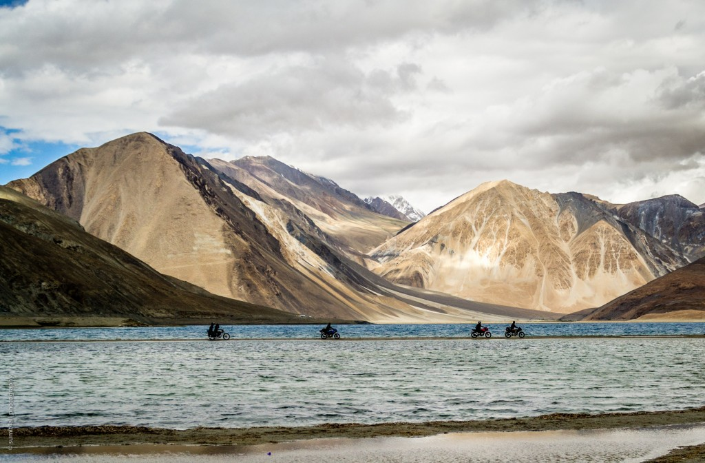 Motor cyclists at the Pangong Tso Lake