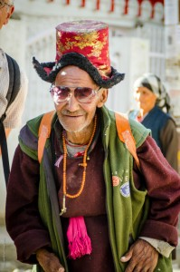 A local Ladakhi in his traditional dress in Leh