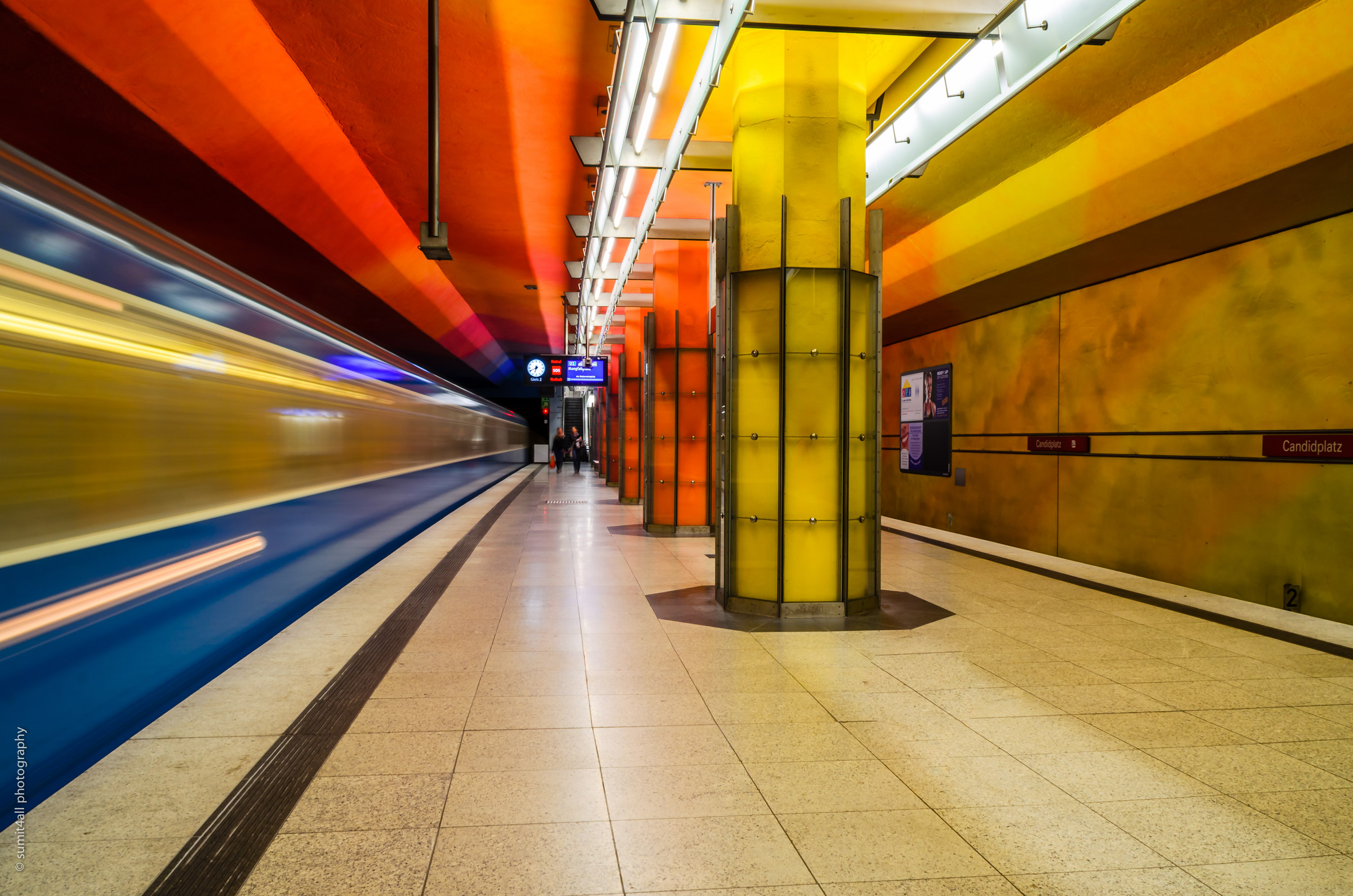 Bright Colors Inside a Metro Station in Munich