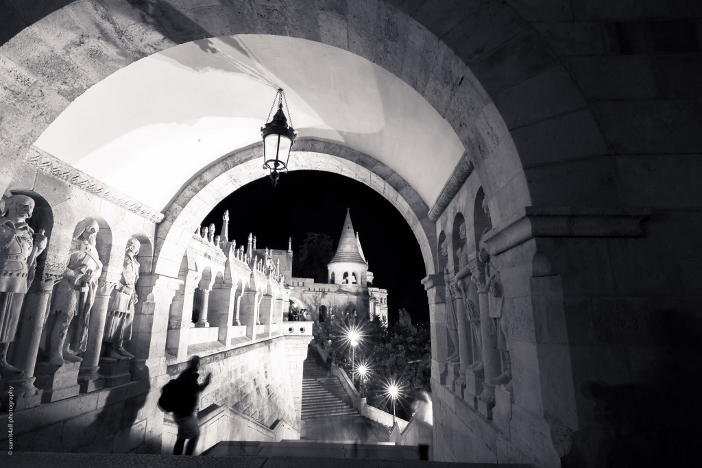 The peaceful solitude of the Fisherman's bastion on the Buda hill