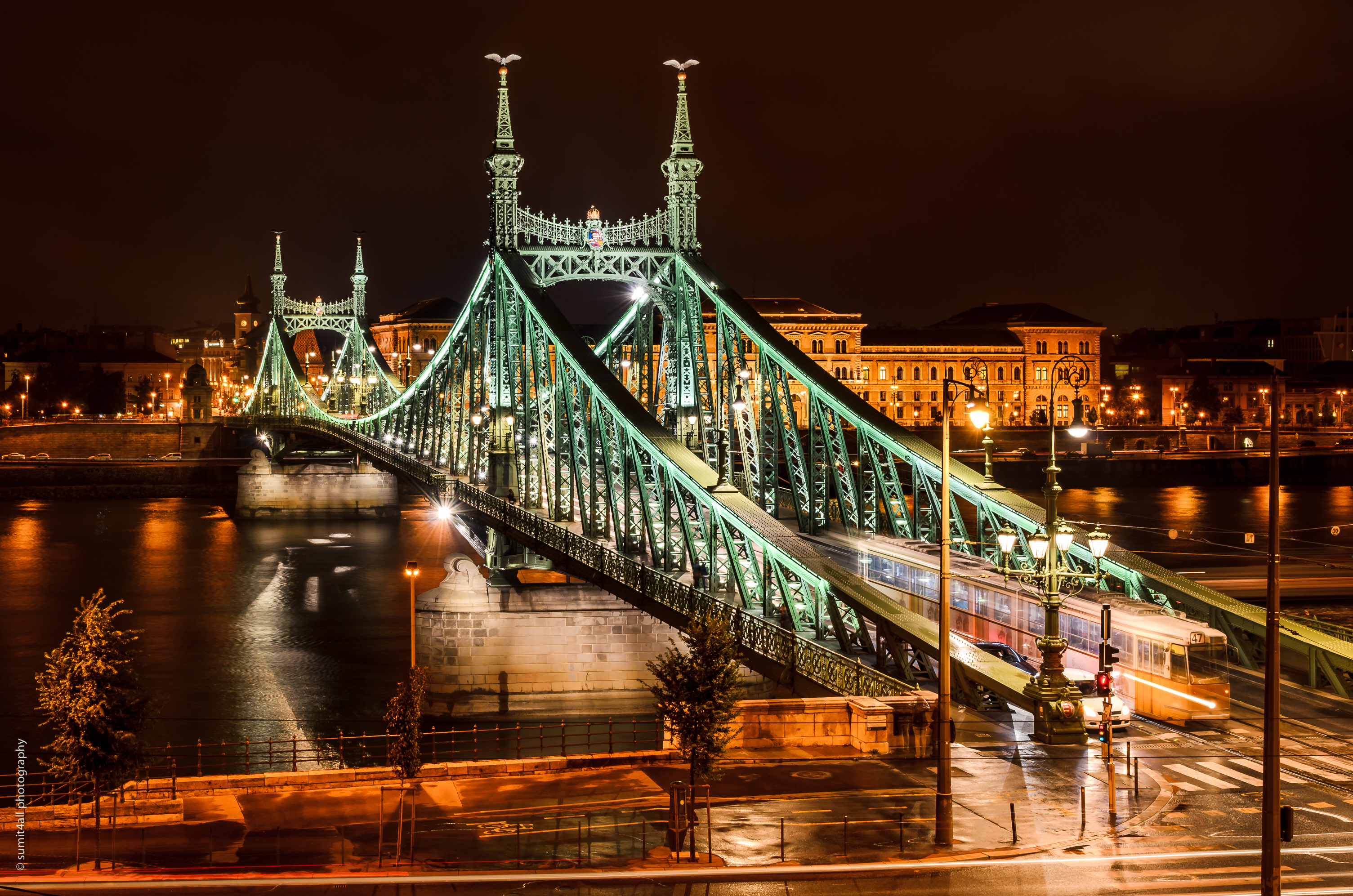 Budapest glittering after dark in artificial light