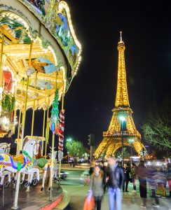 A Traditional Carousel Near The Eiffel Tower in Paris