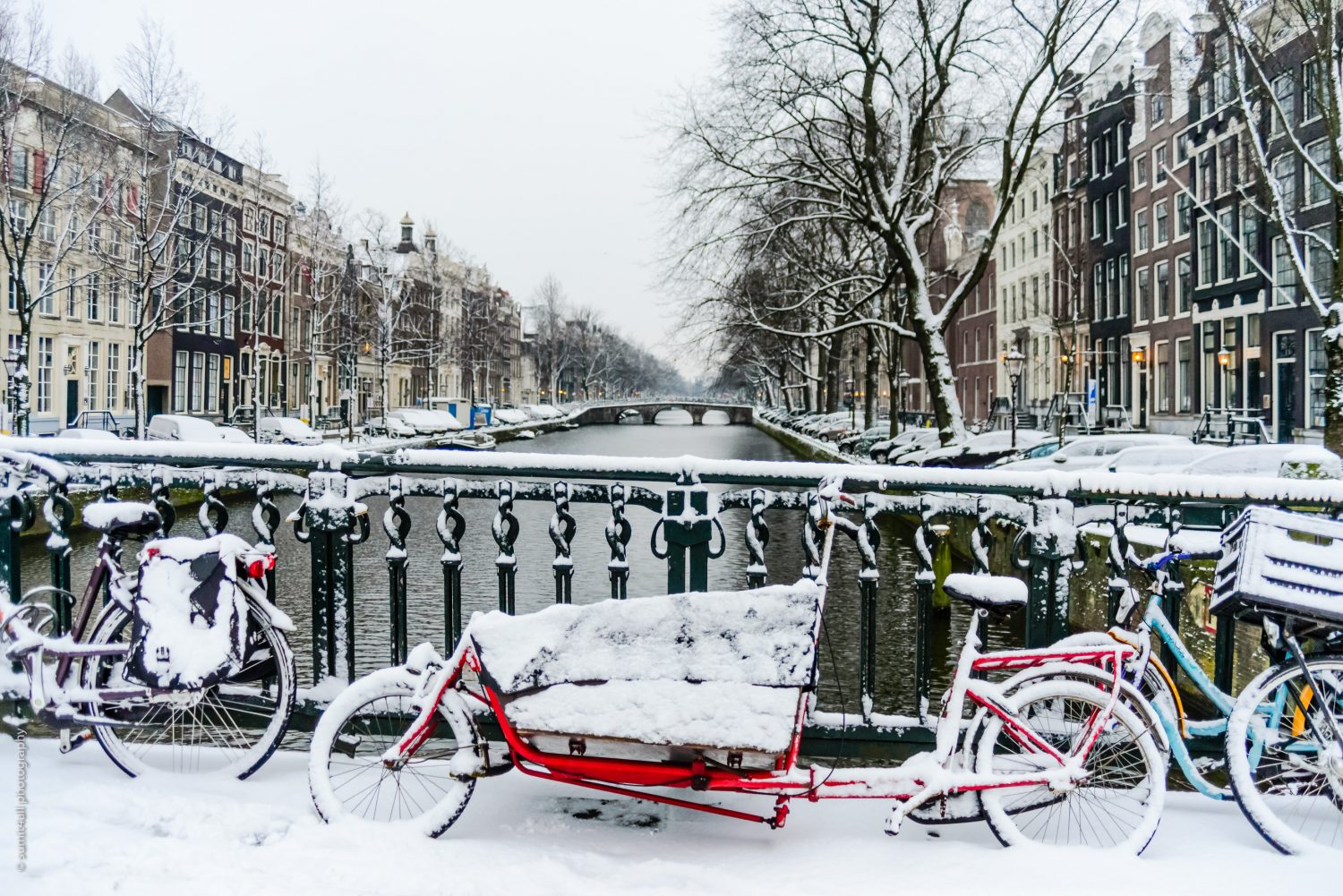 Bikes in Amsterdam After Fresh Snowfall in Winters