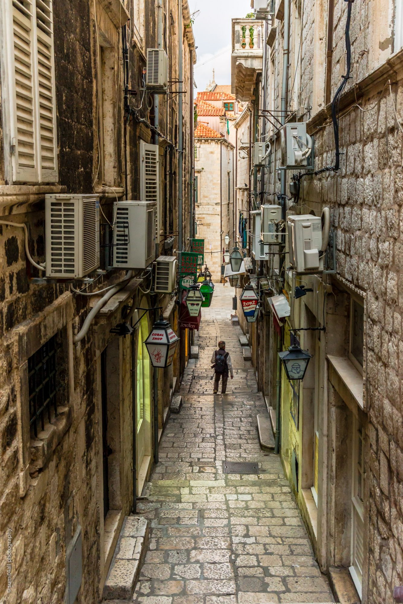 Narrow Street Scene in Old Town, Dubrovnik, Croatia
