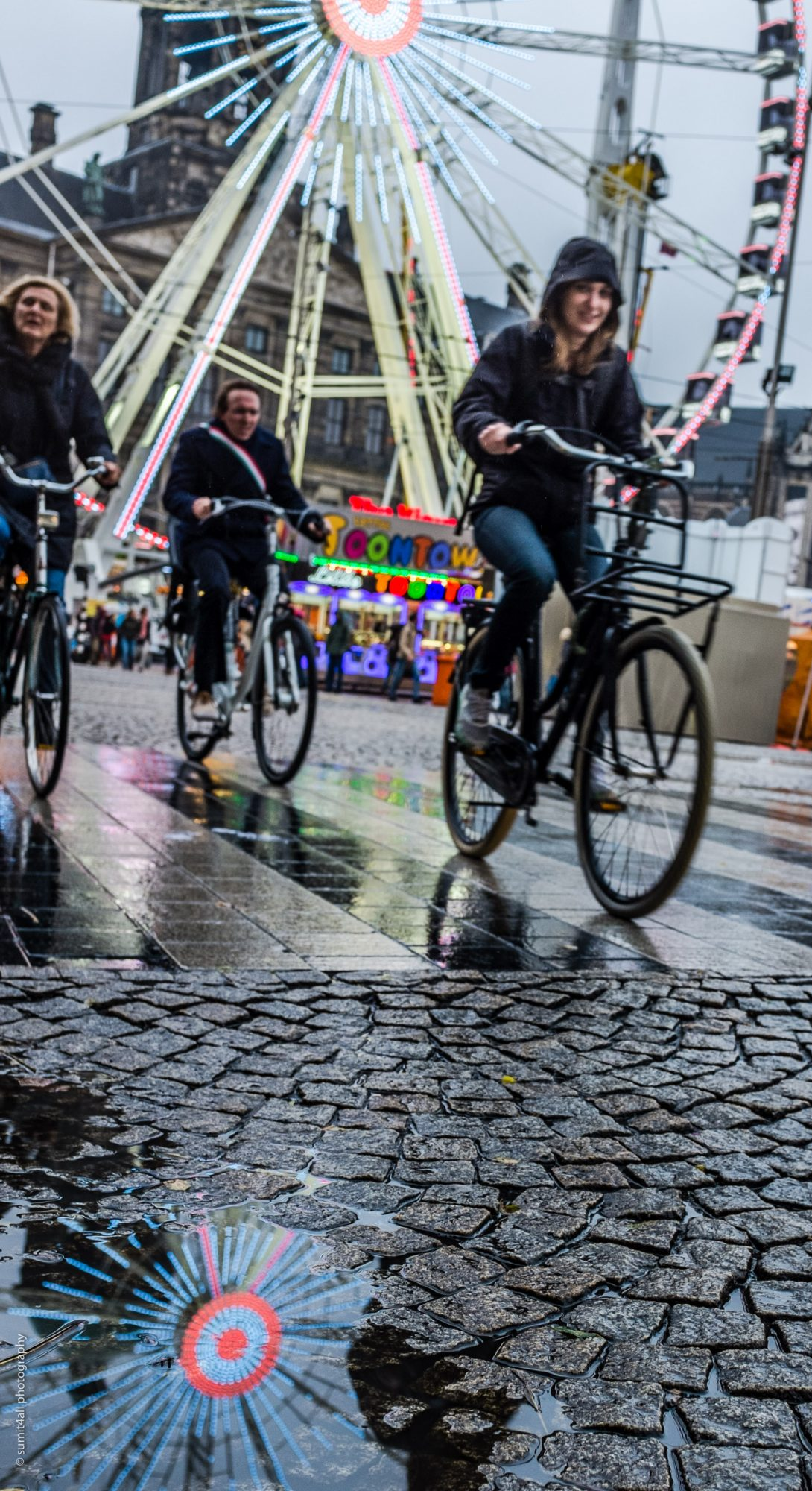 Biking in Rain in Amsterdam
