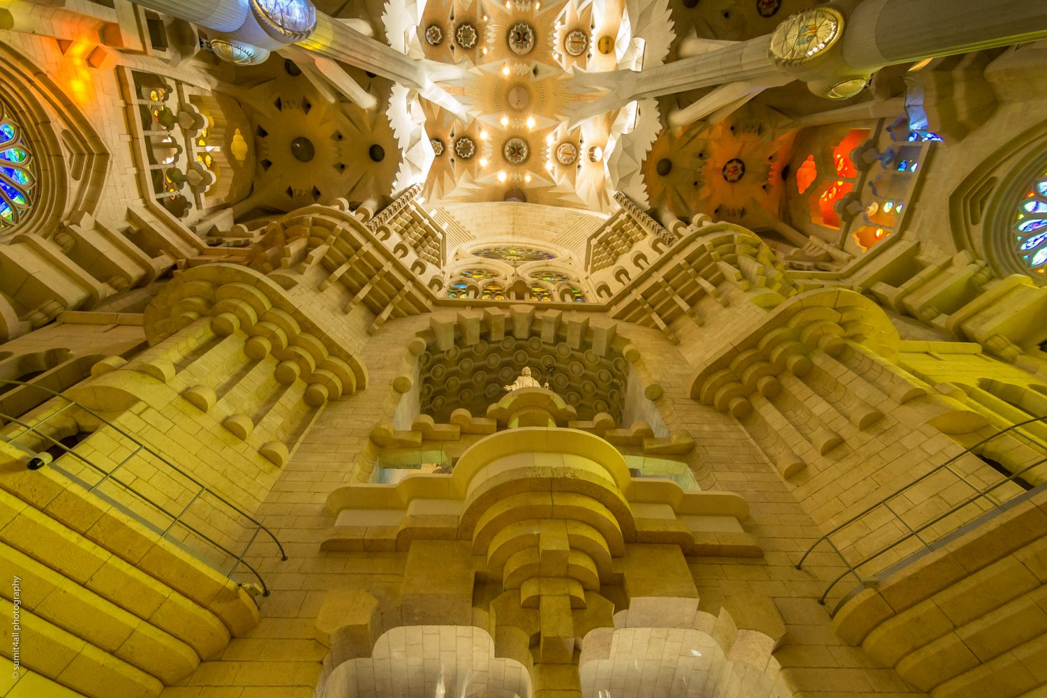 The inside of the Sagrada Familia with the remarkable architecture of Gaudi in Barcelona Spain