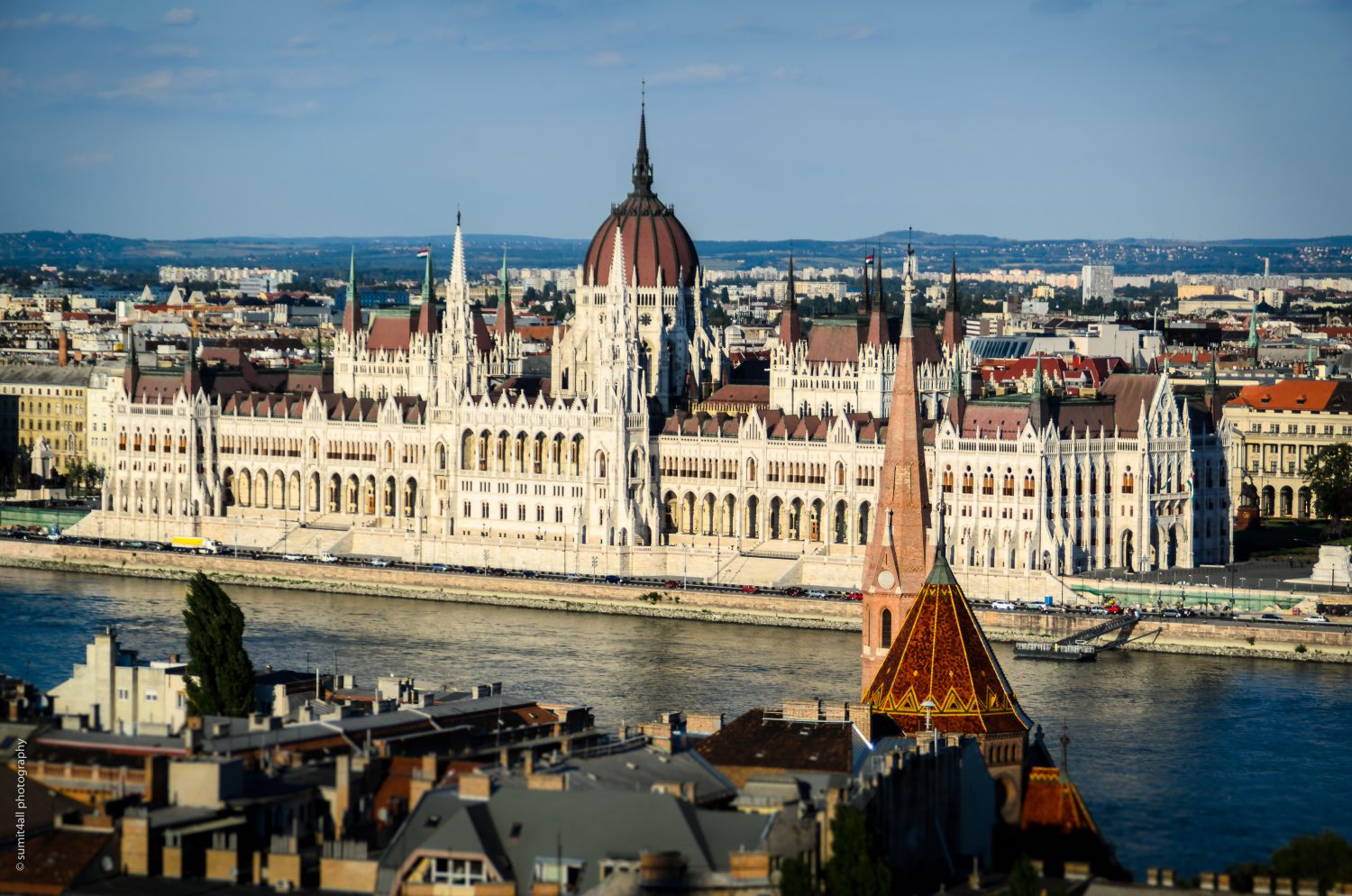 The Hungarian Parliament building as seen from across the Danube river