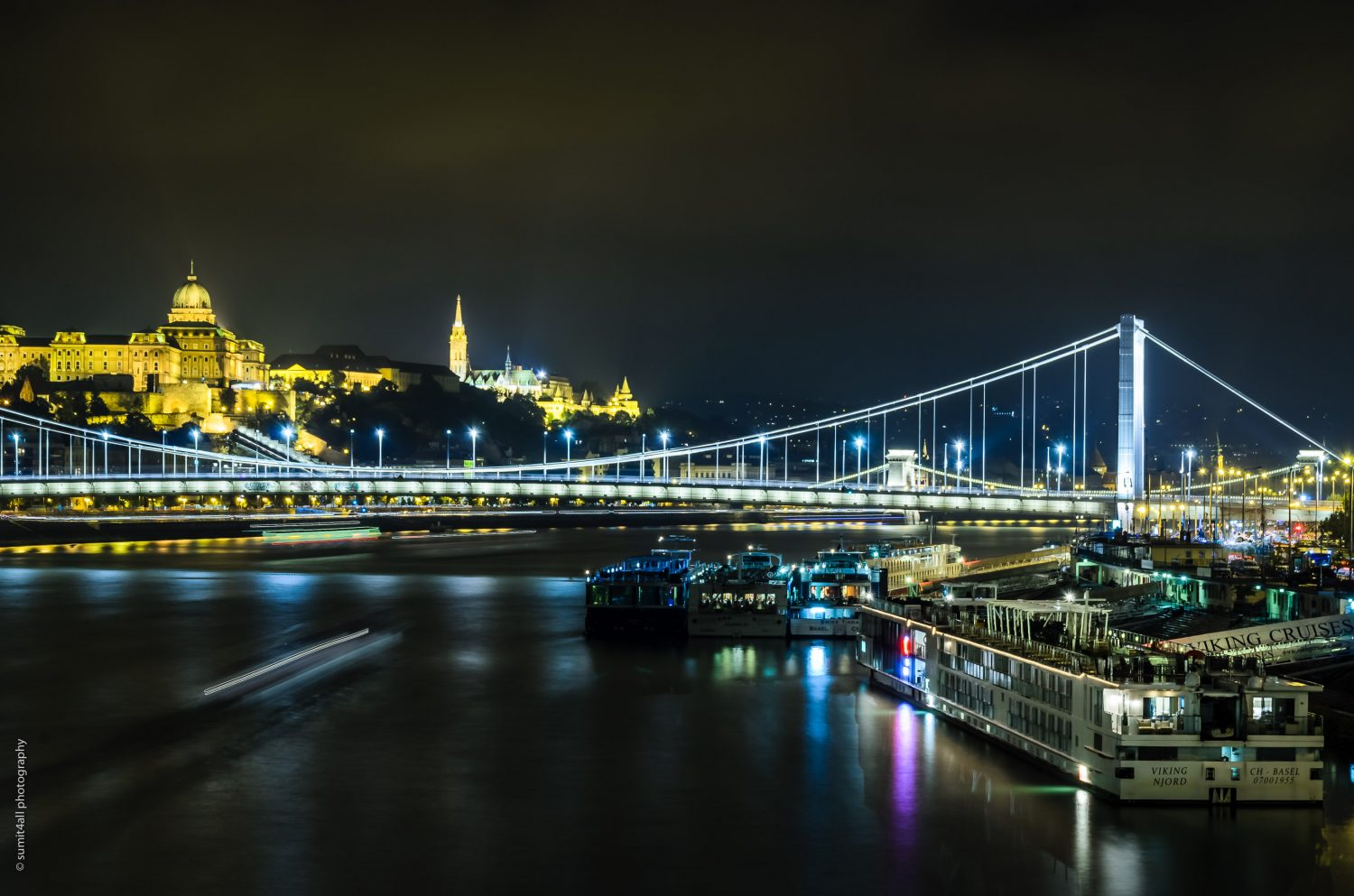 The Buda Castle in the background lit in yellow, and the Elisabeth Bridge lit in white/blue light in the foreground.