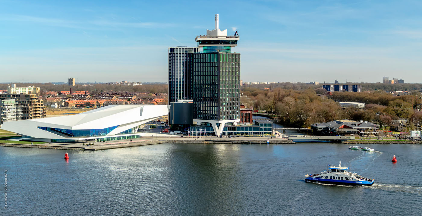 The Eye Film Museum and the A'DAM Toren in North Amsterdam