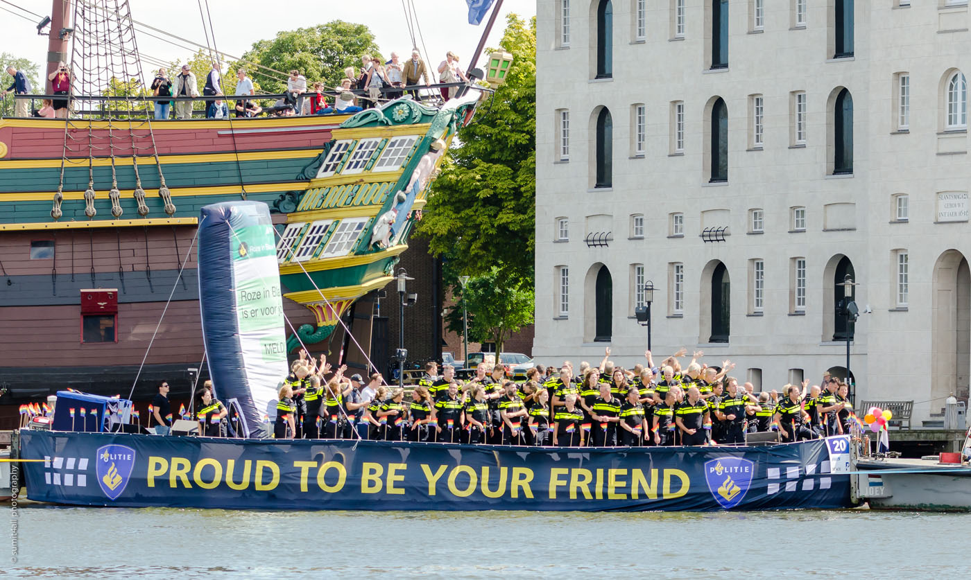A Police Boat with Police Officers enjoying the Festivities and celebrations during the Amsterdam Gay Pride Parade on the 5th August 2017.