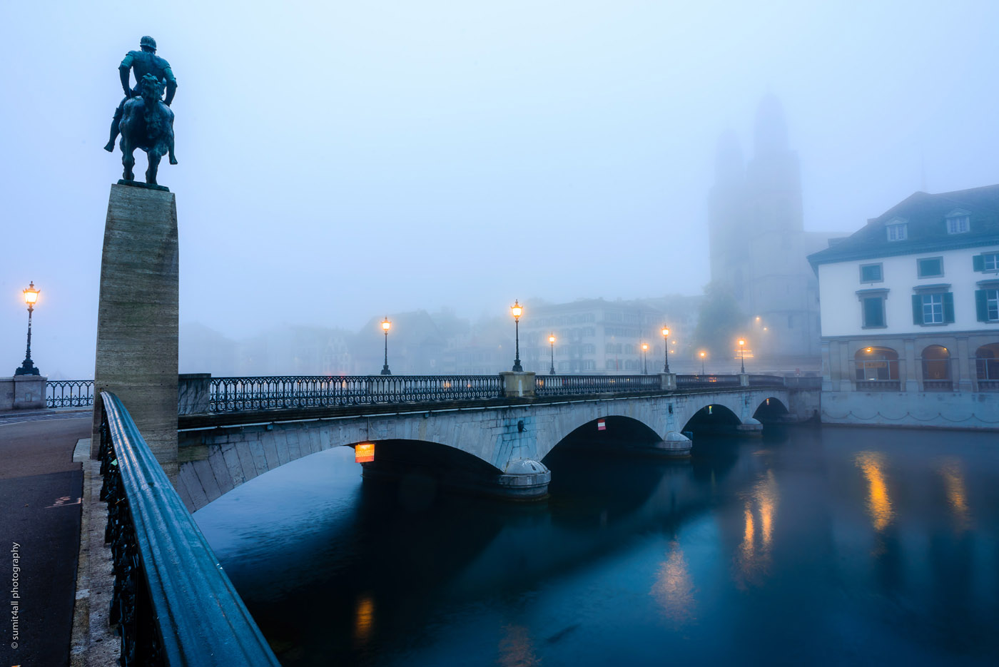 Foggy Morning in Zurich, Switzerland
