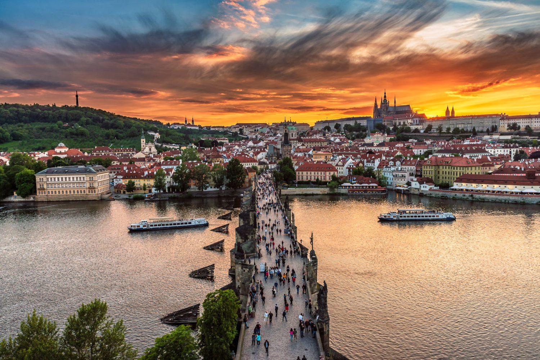 Charles Bridge During Sunset in Prague