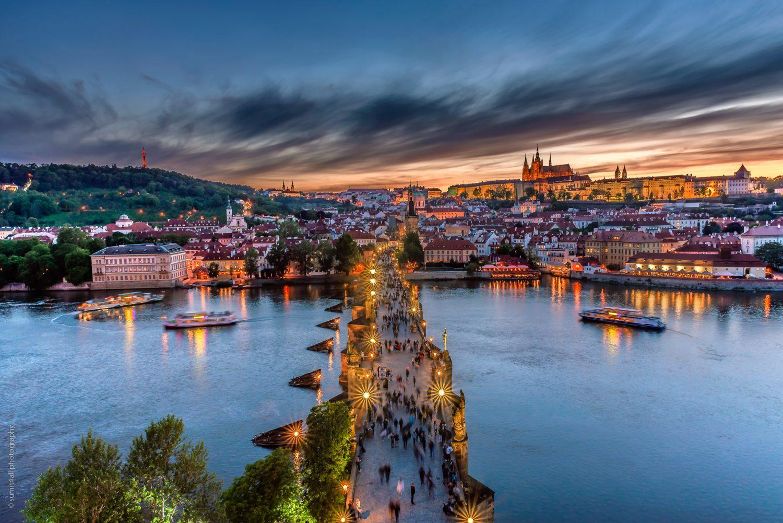 Charles Bridge After Sunset in Prague