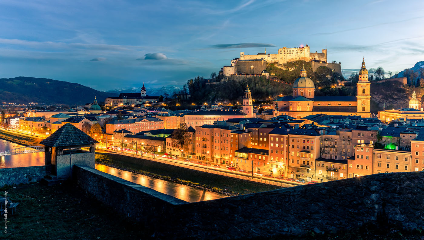 The city of Salzburg after sunset in Austria.