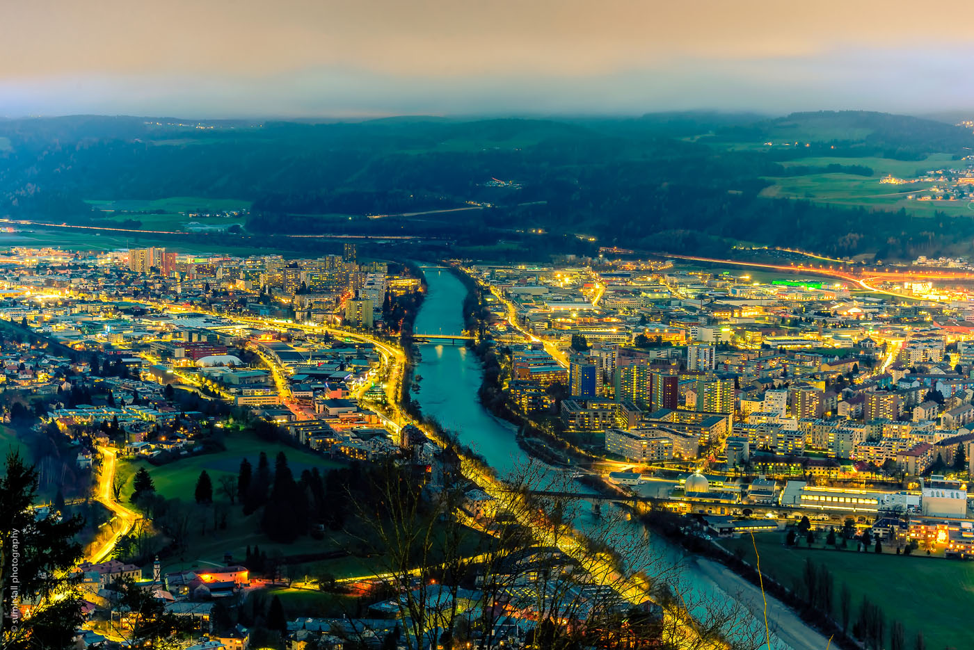 The city of Innsbruck after sunset