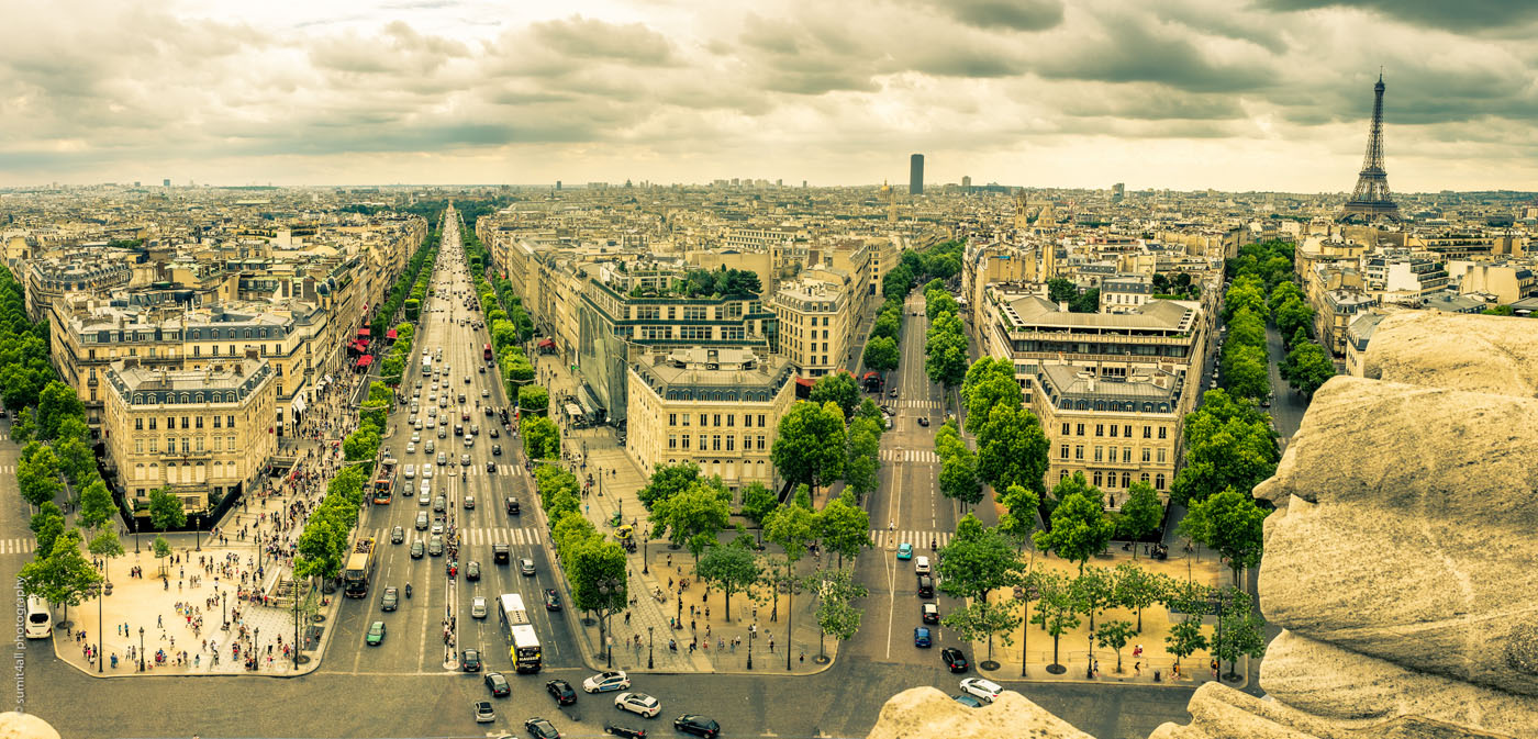 Paris View from Top of Arc de Triomphe