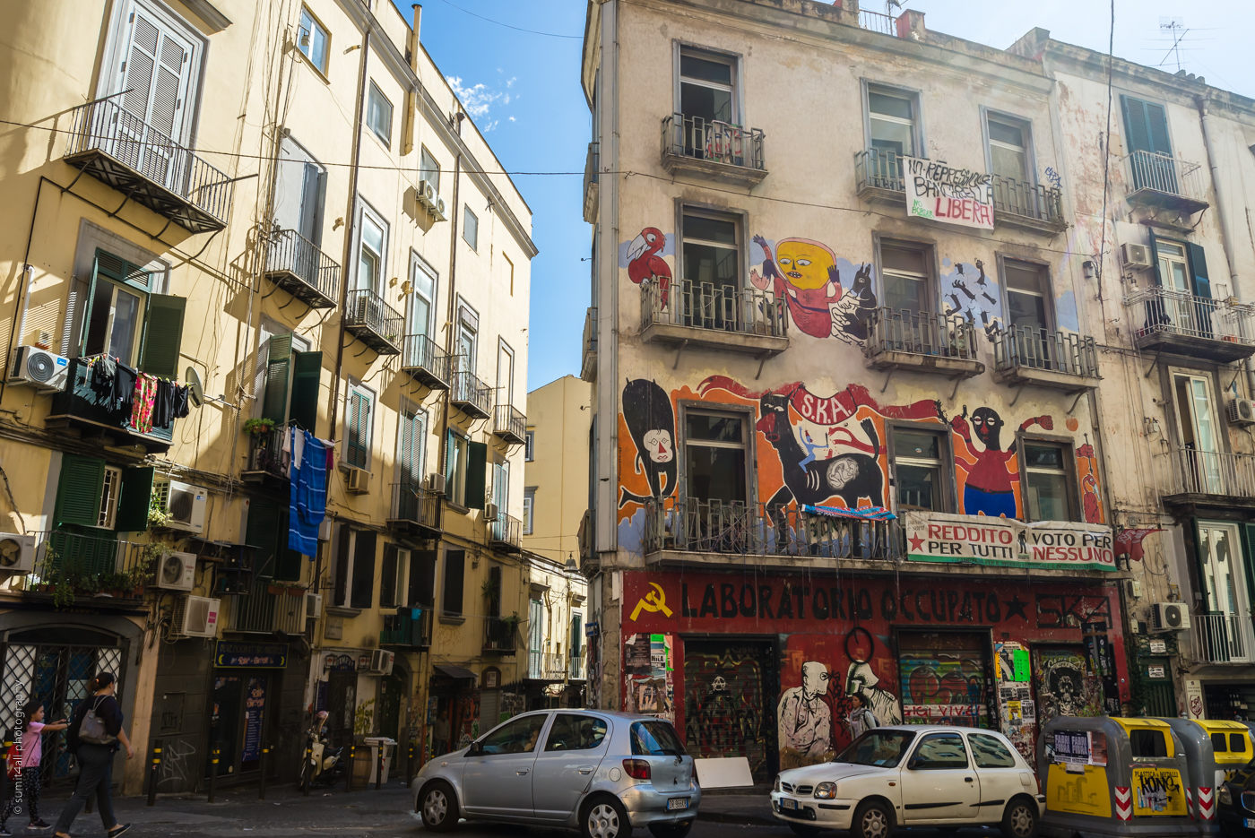 Graffiti on Buildings in Naples, Italy