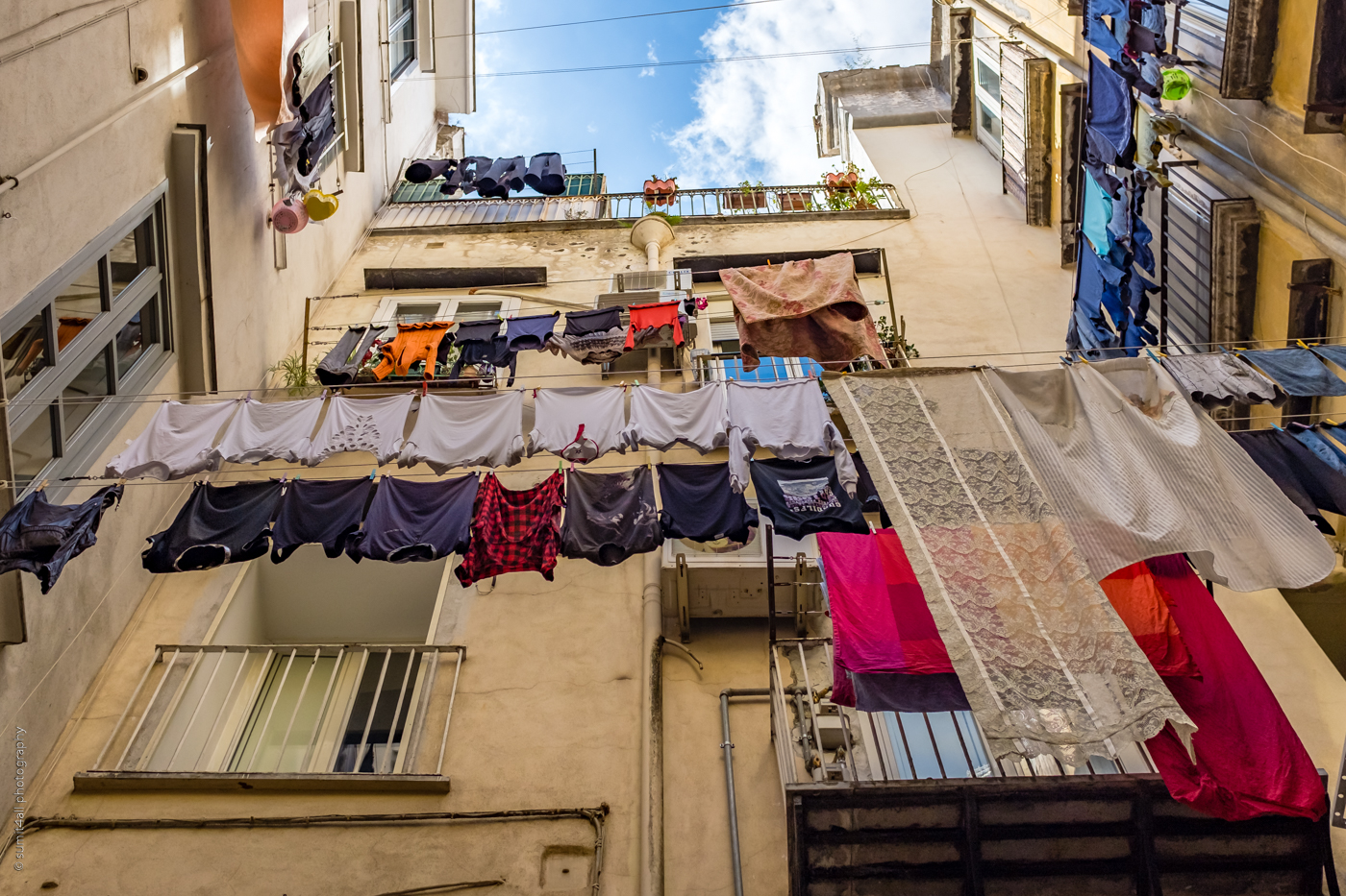 Clothes Hanging to Dry on a Street in Naples, Italy