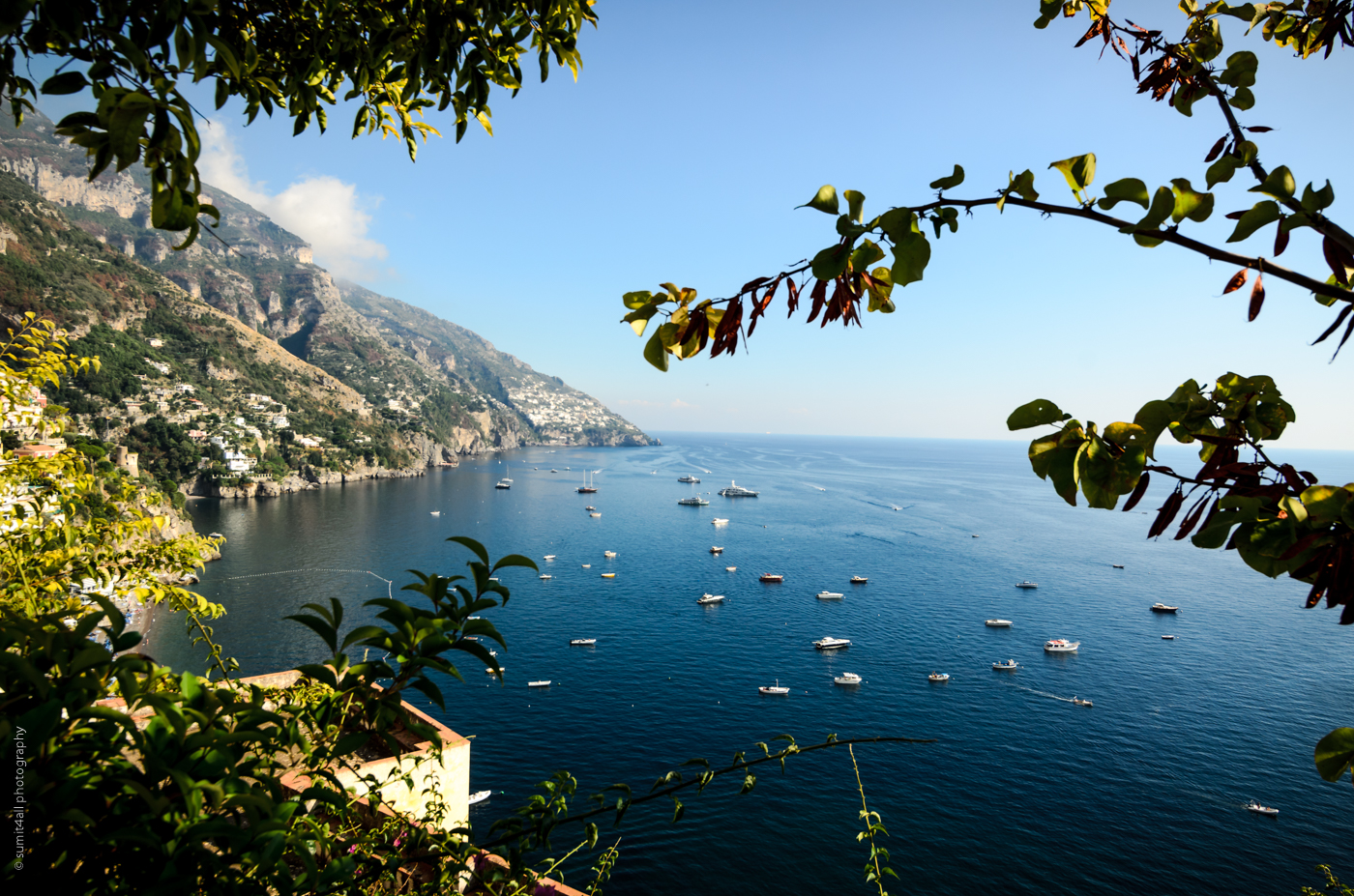 Views all around in Positano on the Amalfi Coast, Italy