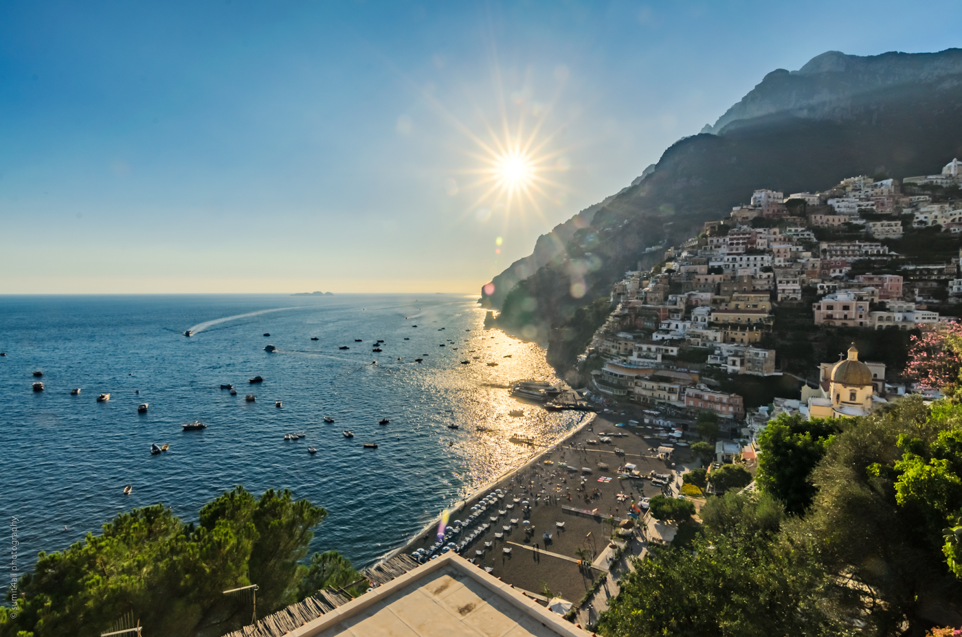 Just before sunset in Positano on the Amalfi Coast, Italy