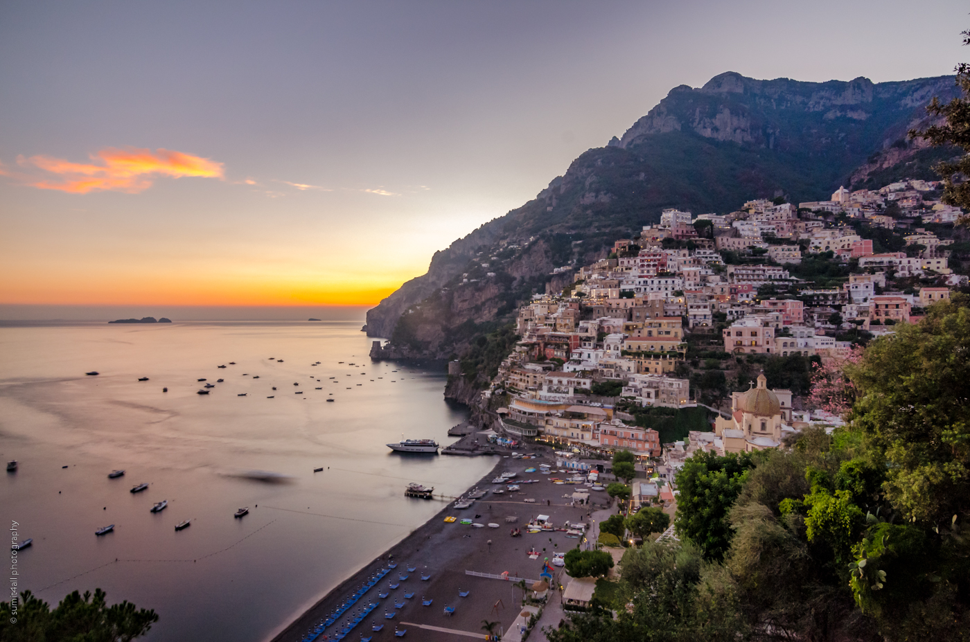 Just after sunset in Positano on the Amalfi Coast, Italy