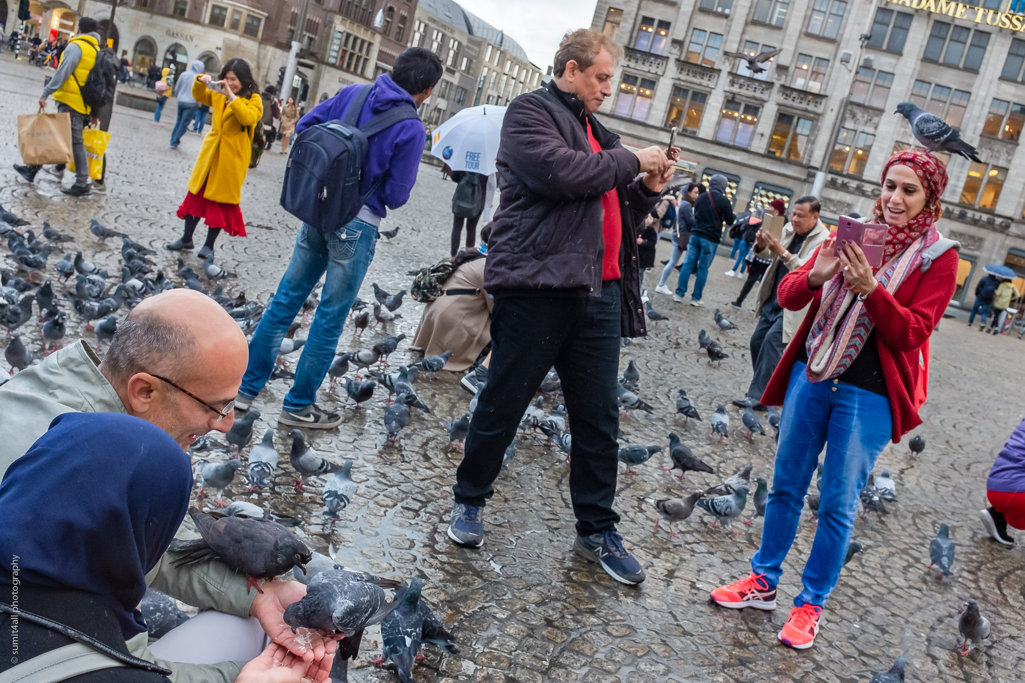 Pigeons and Phones, Dam Square, Amsterdam
