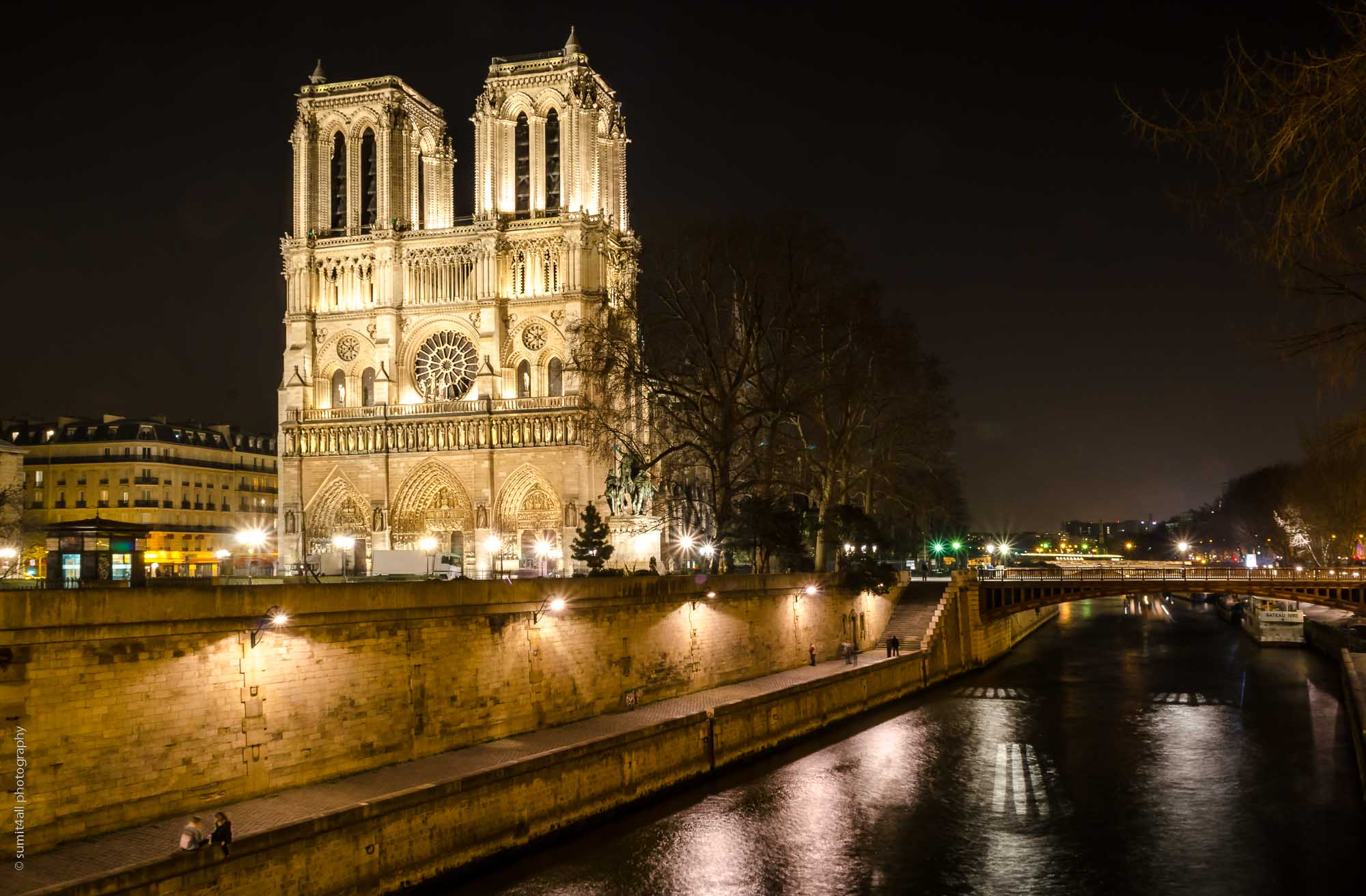 The Notre Dame at night from across the Siene