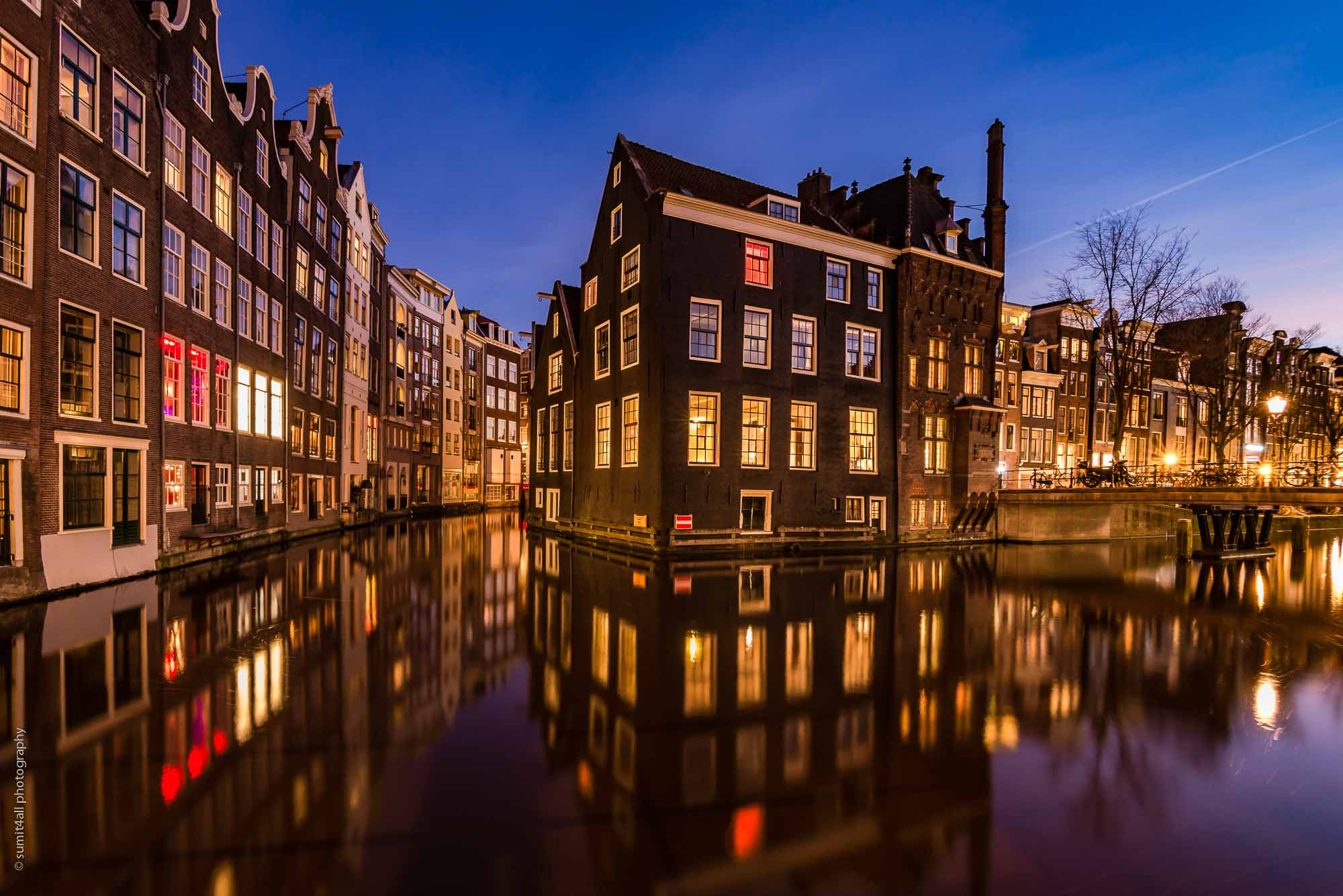 Amsterdam Canal Reflections Just Before Sunrise