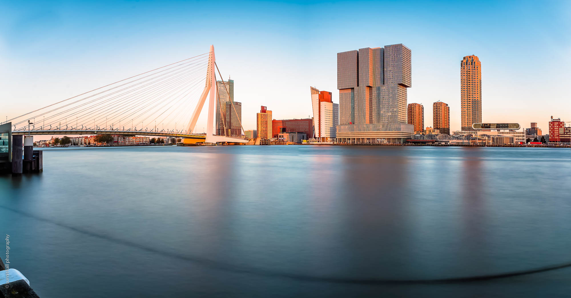 The Erasmus Bridge and Rotterdam Skyline at Sunset