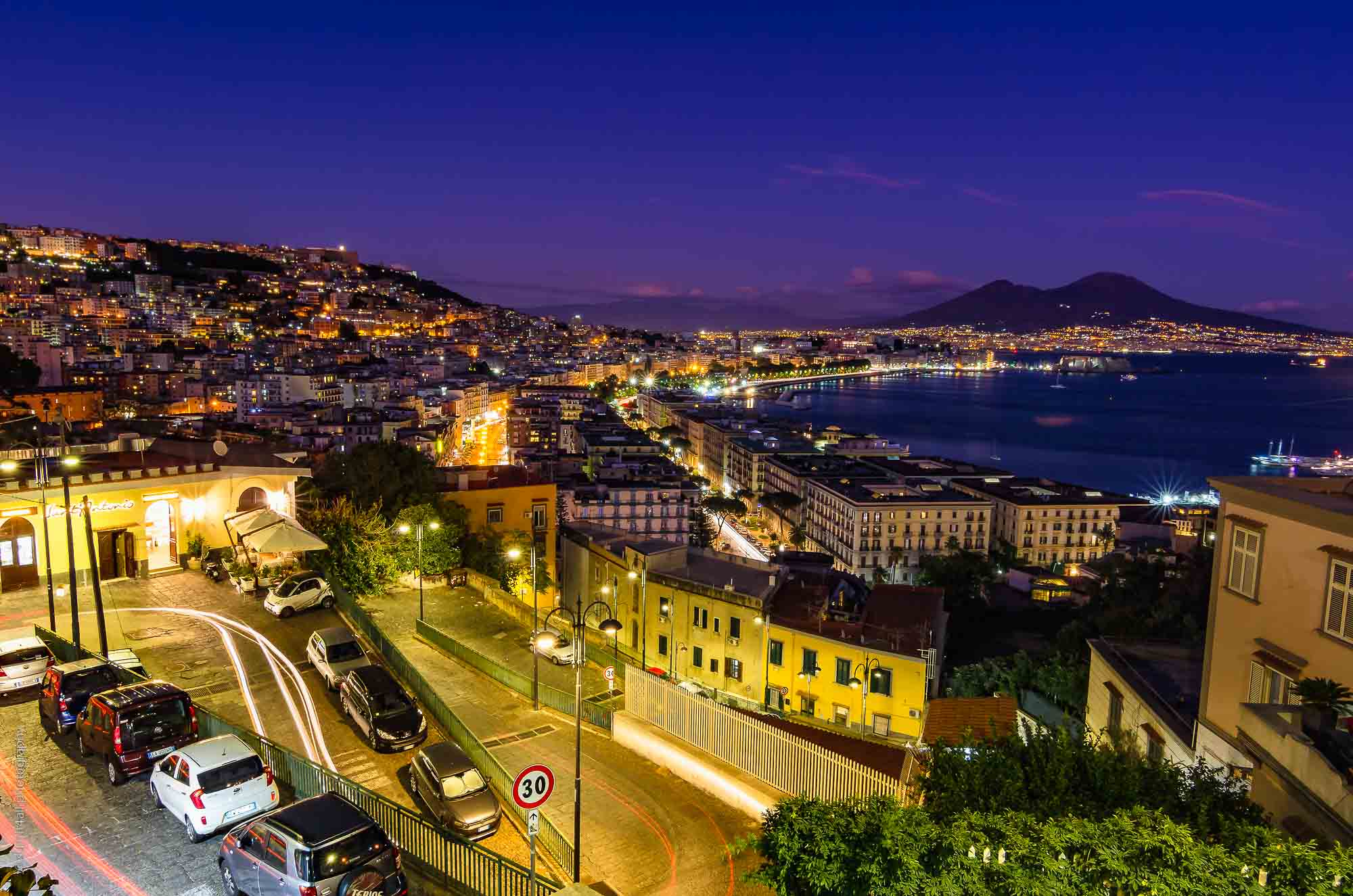 Cityscape in Naples with Mt Vesuvius after Sunset