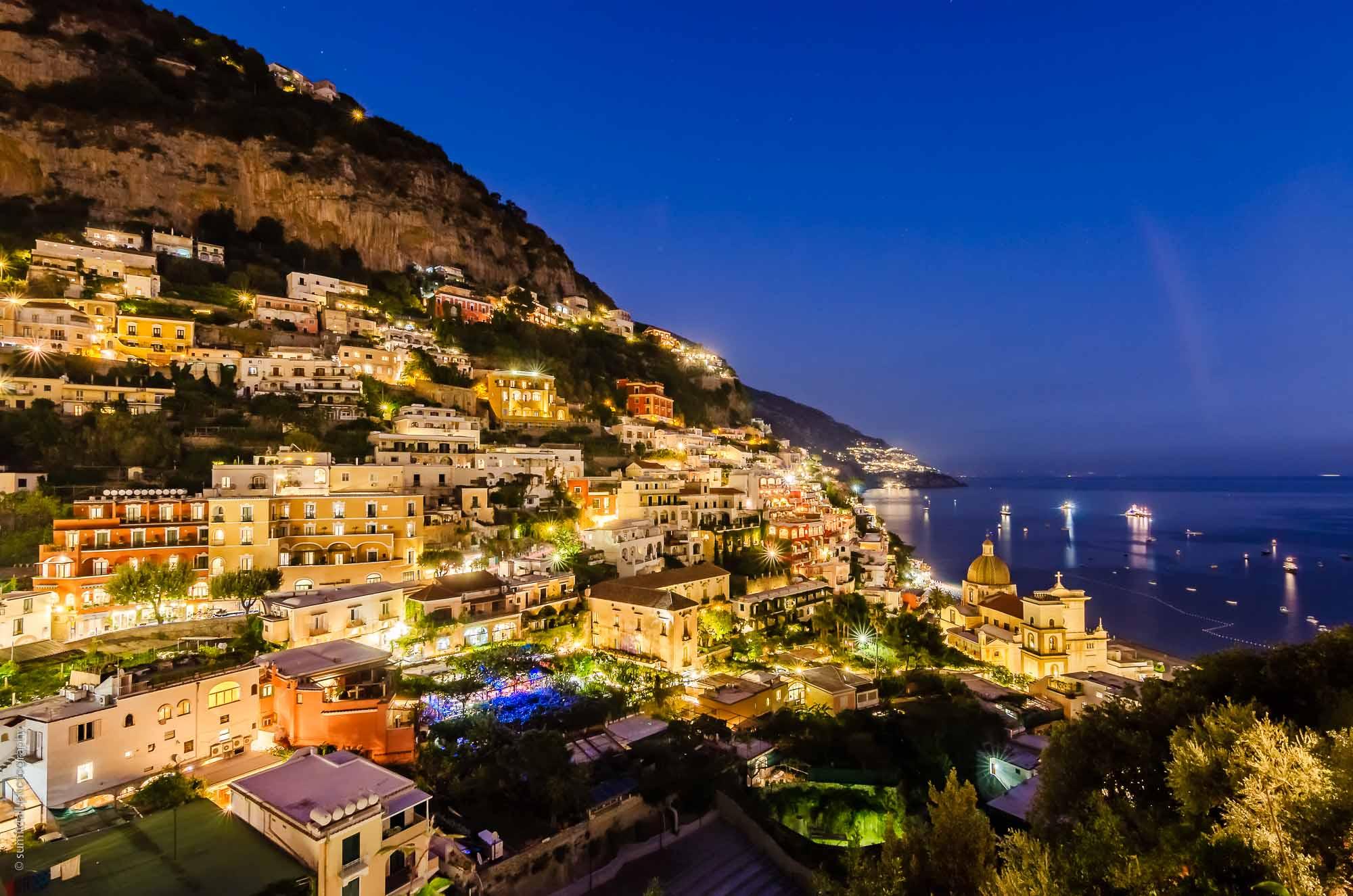 Sunset in Positano, Italy on the Amalfi Coast