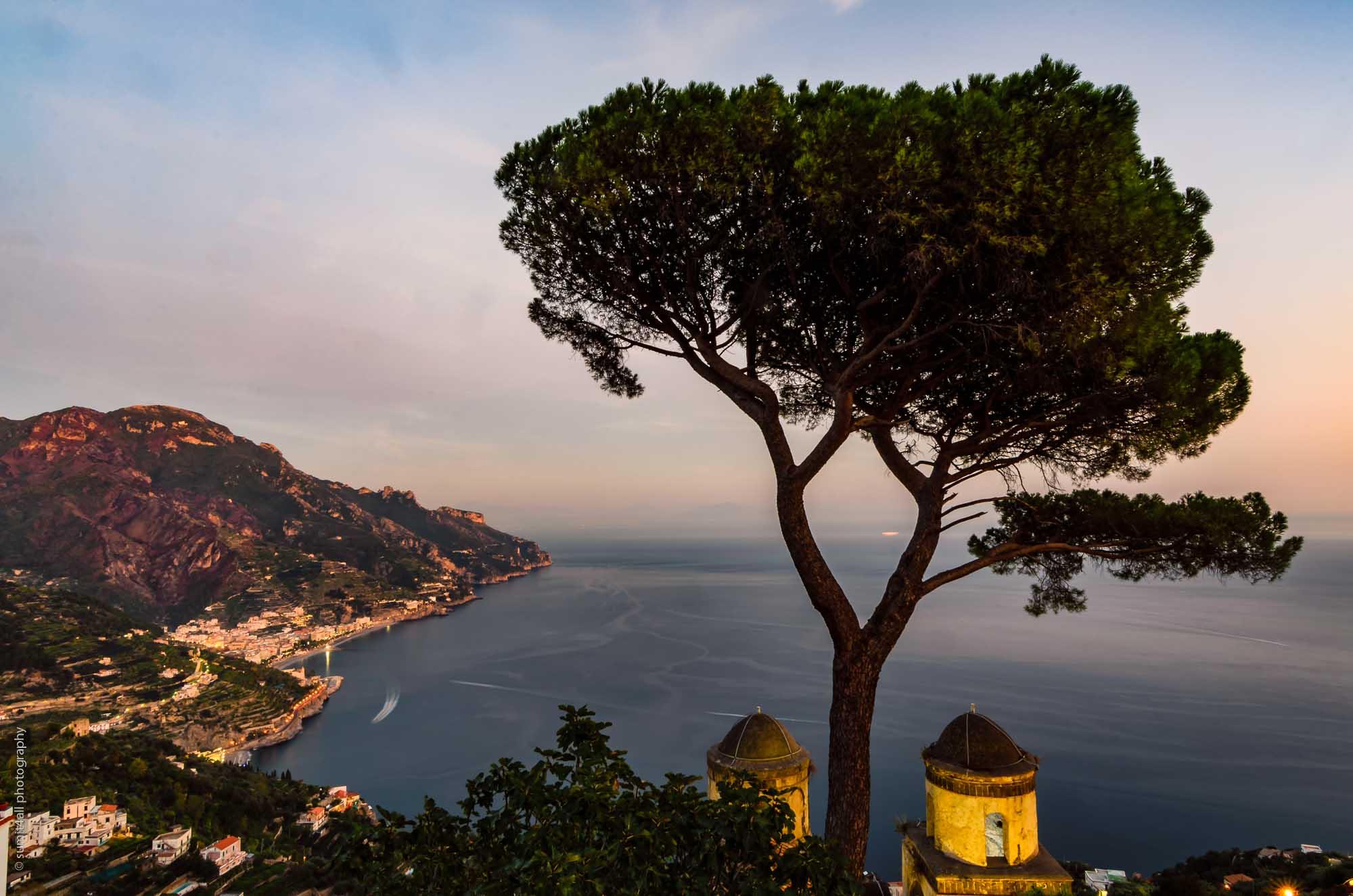 Sunset Cityscape in Ravello on the Amalfi Coast, Italy