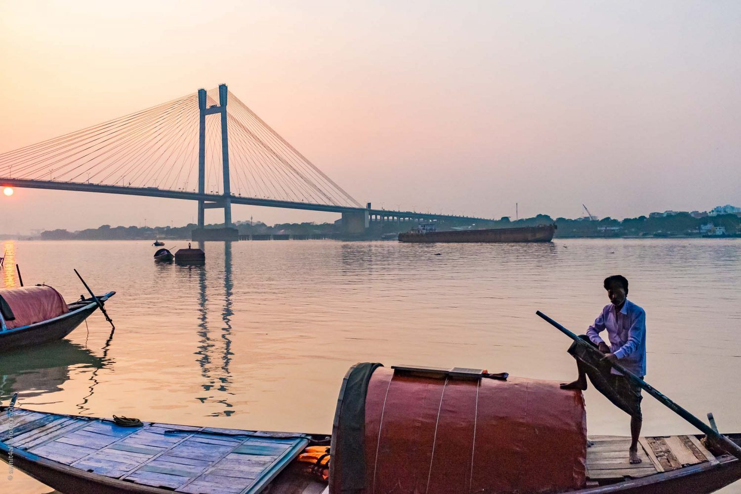Sunset scene near the Hooghly River