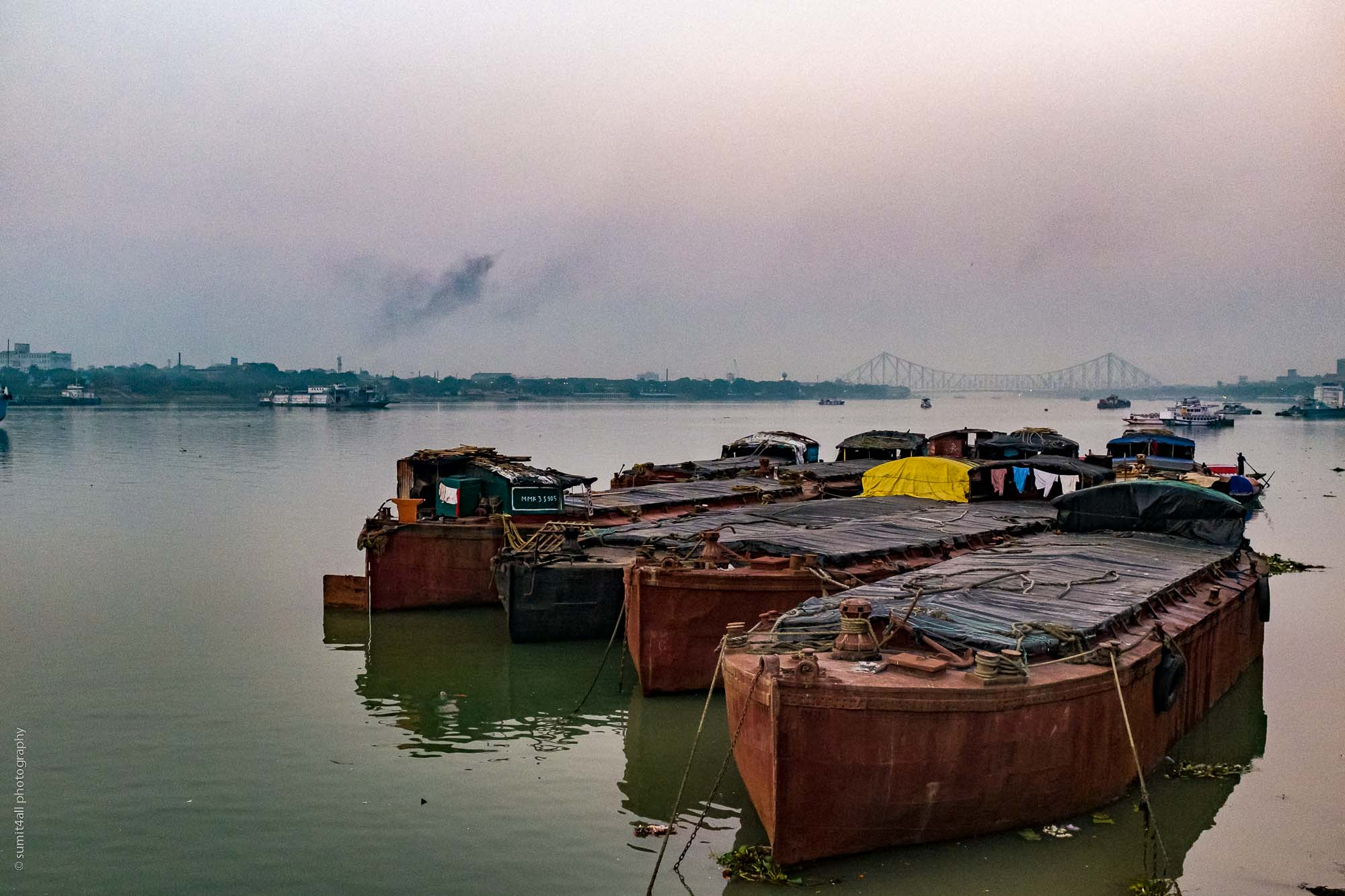 The Hooghly River and the Howrah Bridge in Kolkata