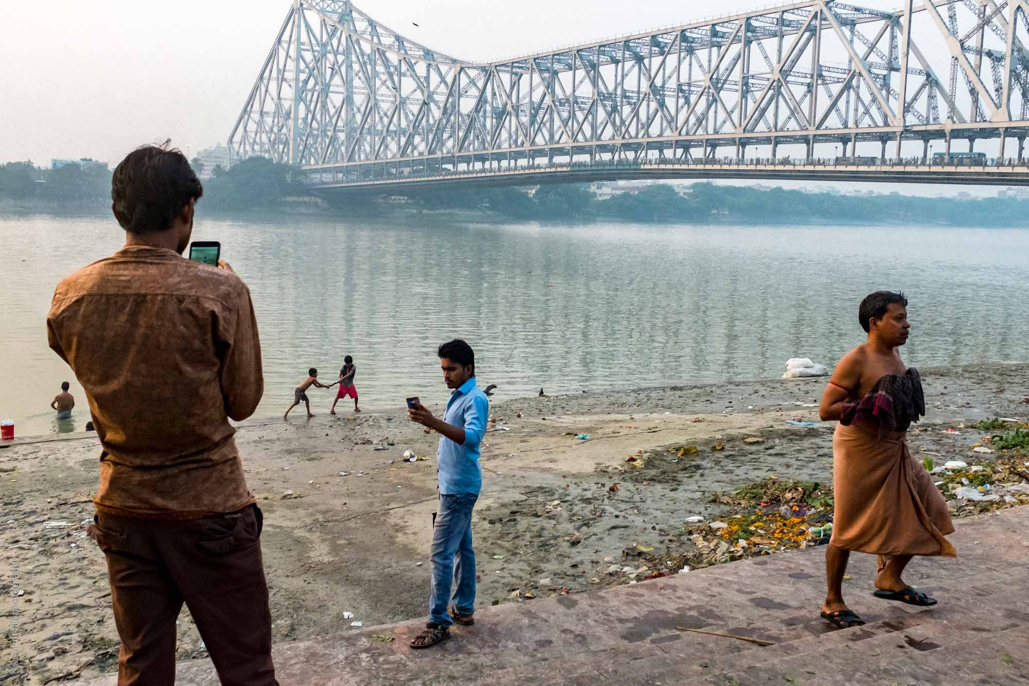 Activity on the ghats near the Howrah Bridge in Kolkata