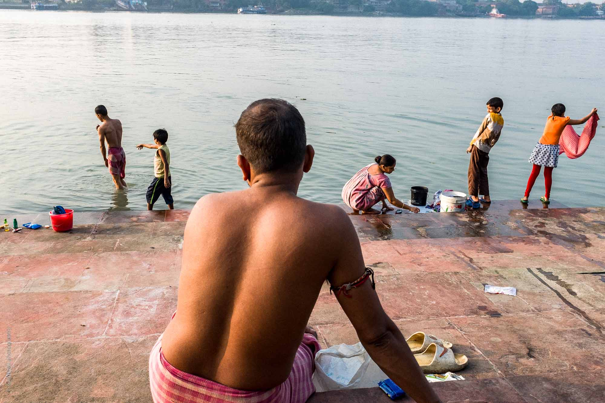 Activity on the ghats near the Hooghly River in Kolkata