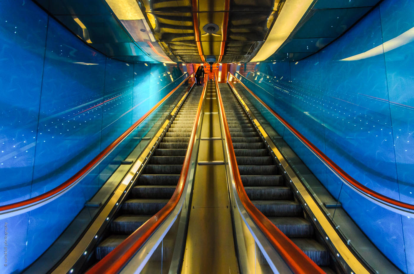 Escalators at Universita Metro Station in Naples