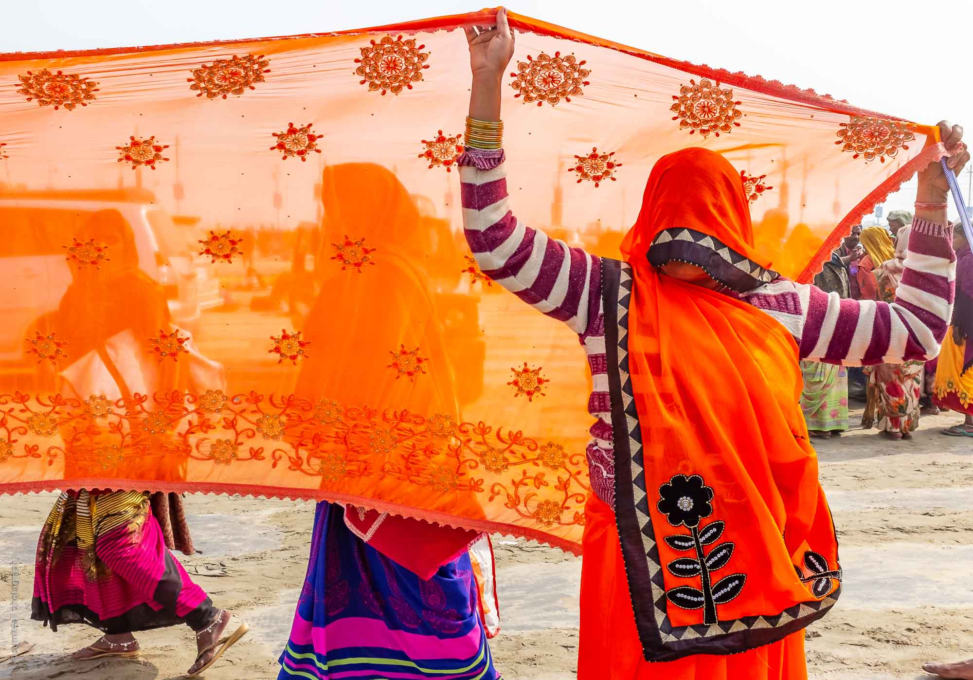 Colorful Saris at the Kumbh Mela 2019 in Allahabad / Prayagraj India